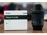 Sigma 35mm f1.4 Art Lens for Canon DSLR Cameras Lens Mint and boxed £460