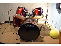 Mapex 5 piece drum kit burgendy with stool