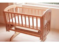 John Lewis Anna Glider cot for sale, incl 4 organic cotton sheets & mattress. Excellent condition