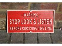 WARNING STOP LOOK & LISTEN METAL TRAIN SIGN 36x18cms