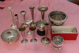 Lot of Vintage EPNS Vases and Rose Bowls