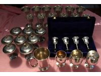 Vintage EPNS and steel Drinking Glasses inc 4 Sets and Extras