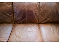 2 X Distressed Leather Sofas   4 Seater Corner Chaise ( DFS ) U0026 2 Seater