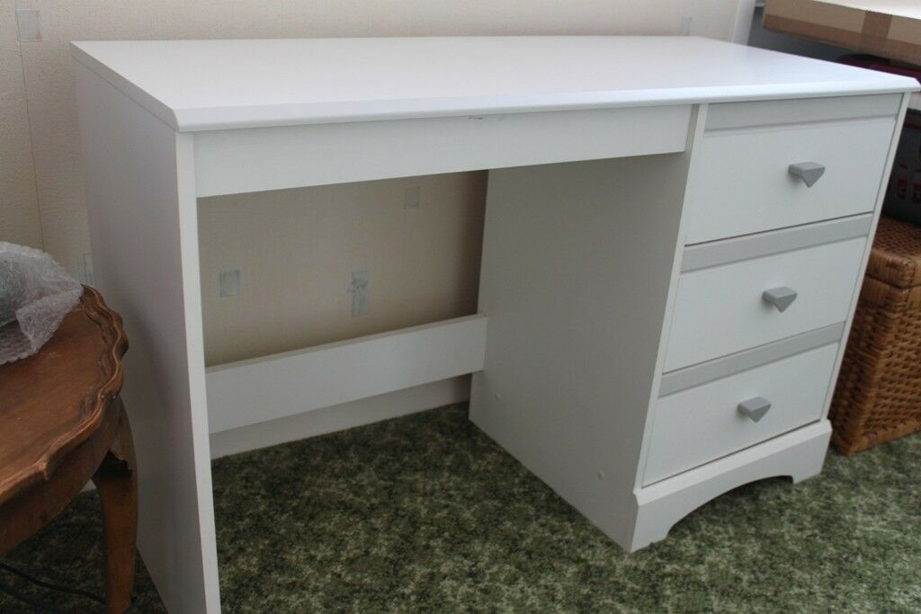 Small White Dressing Table/desk With 3 Drawers