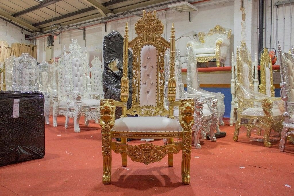 1 X New Gold Leaf Lion King Queen Throne Chair Wedding Luxury Hand Made  French Italian