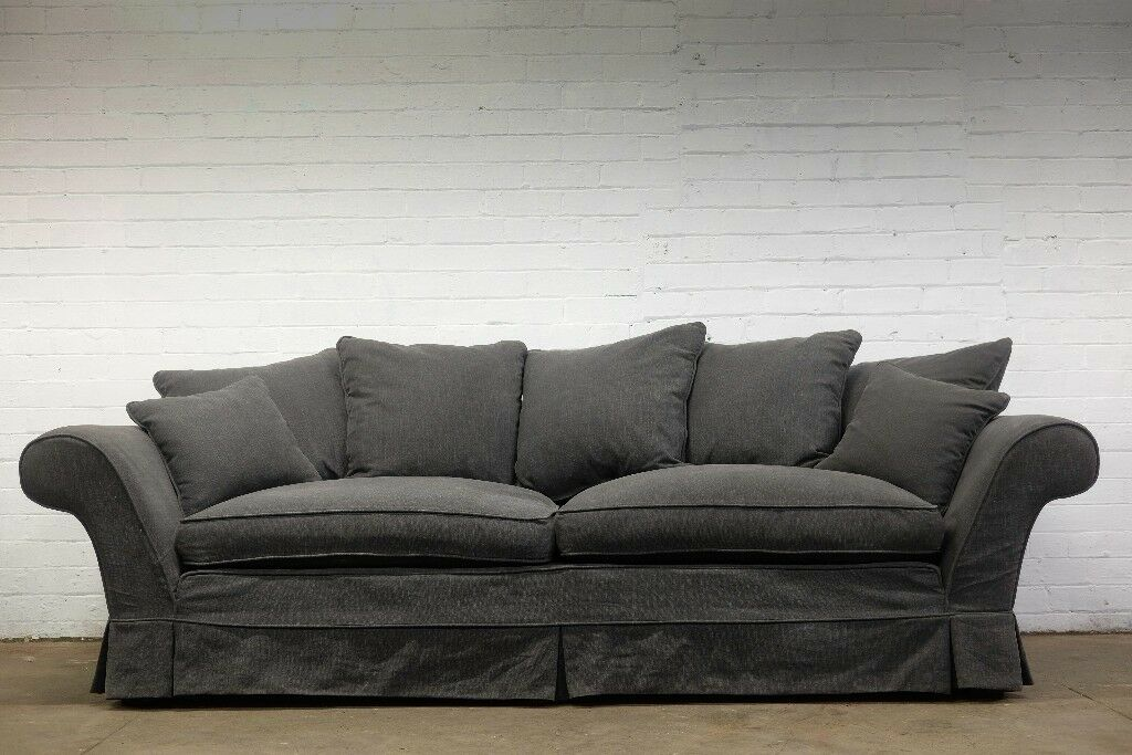 EX DISPLAY SOFA COM WHISTLER 4 SEATER SPLIT SOFA IN CHARCOAL   FREE UK  DELIVERY