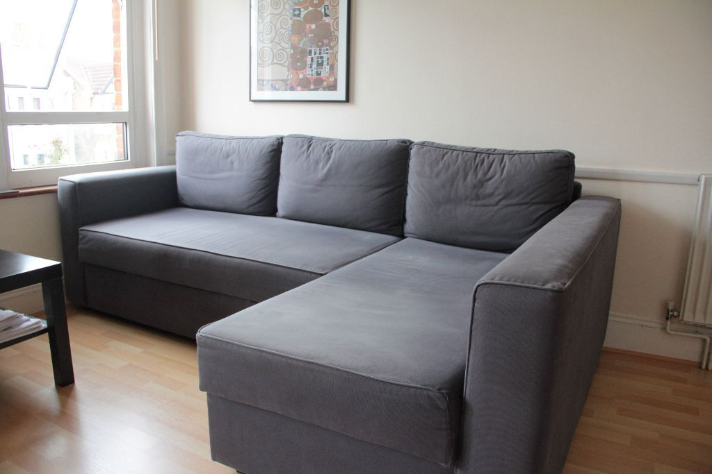 Superbe IKEA Manstad Corner Sofa Bed With Chaise Longue And Storage   Gobo Blue Grey