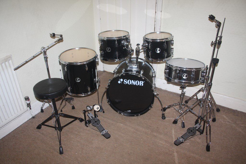 Sonor Force 507 Black 5 Piece Complete Drum Kit (18  Bass) + All & Sonor Force 507 Black 5 Piece Complete Drum Kit (18