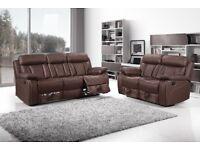 BRAND NEW Romas Black Leather Recliner Sofa Set