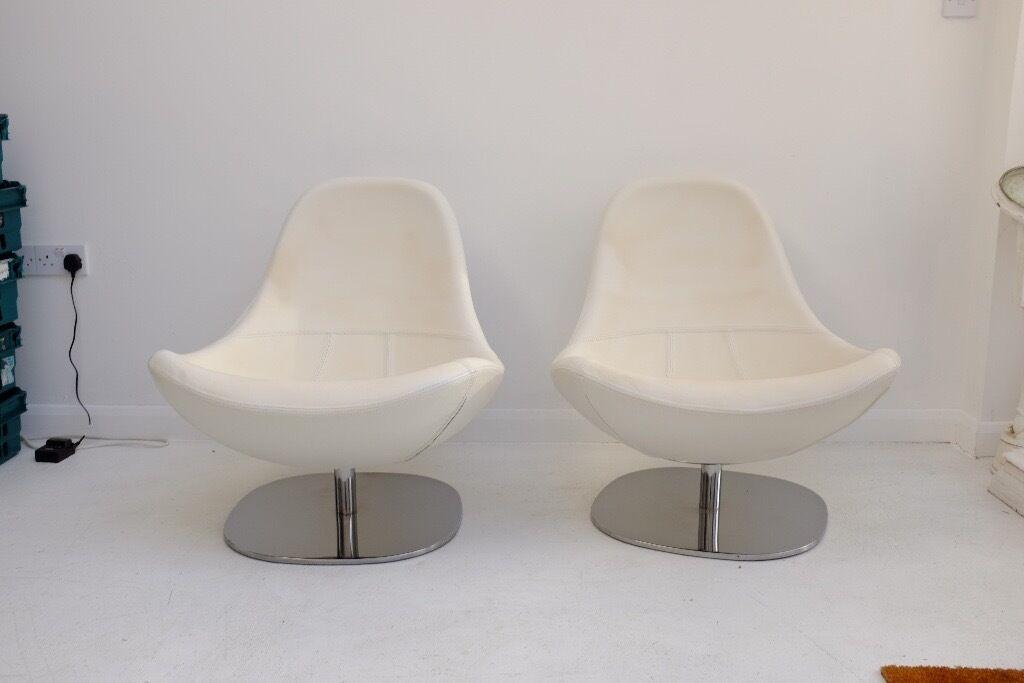 2 White Leather IKEA Tirup Swivel Chairs.