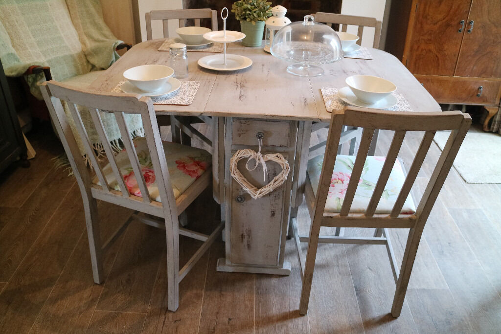 Shabby Chic Dining Table And 4 Chairs, French Country Style Grey Table And  Four Chairs Photo