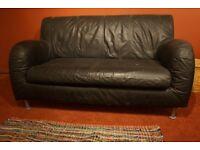 Ikea Contemporary 2 Seater Black Leather Sofa
