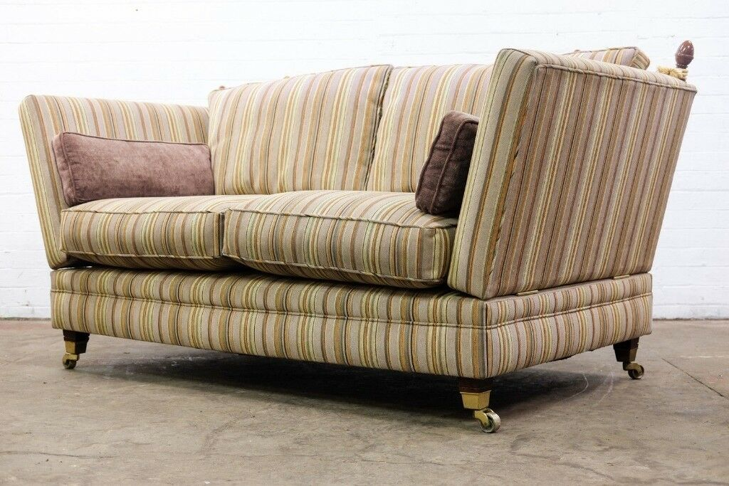LUXURY TWO SEATER DROP ARM KNOLE SOFA IN STRIPE FABRIC   FREE UK DELIVERY