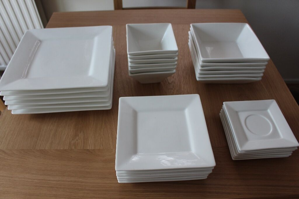 maxwell u0026 williams white basics monaco square dinner and side plates saucers and bowls - Square Dinner Plates