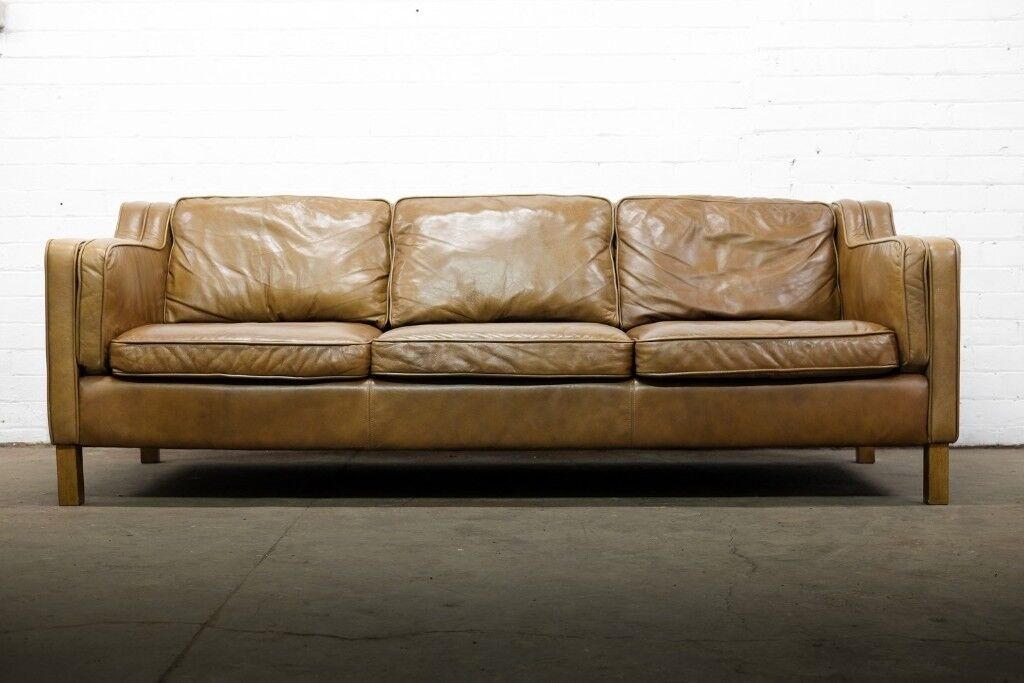 SCANDINAVIAN DESIGN VINTAGE 3 SEATER BROWN LEATHER SOFA   FREE UK DELIVERY