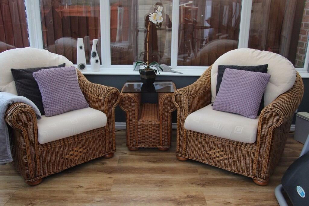 Conservatory Furniture; Two Ratten/wicker Arm Chairs And Table By U0027Haddon  Houseu0027