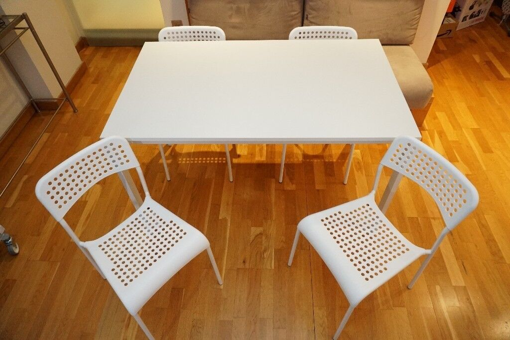 Large White Dining Table With 4 Chairs IKEA MELLTORP U0026 IKEA ADDE