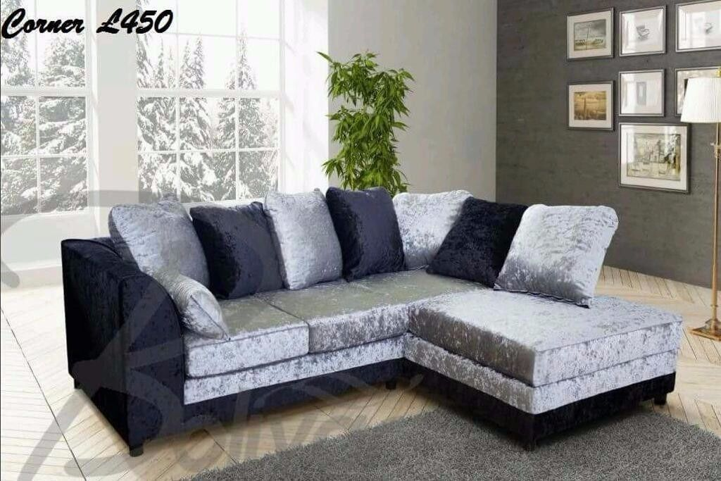 Brand New Top Quality Crushed Velvet Corner Sofa Pay Monthly