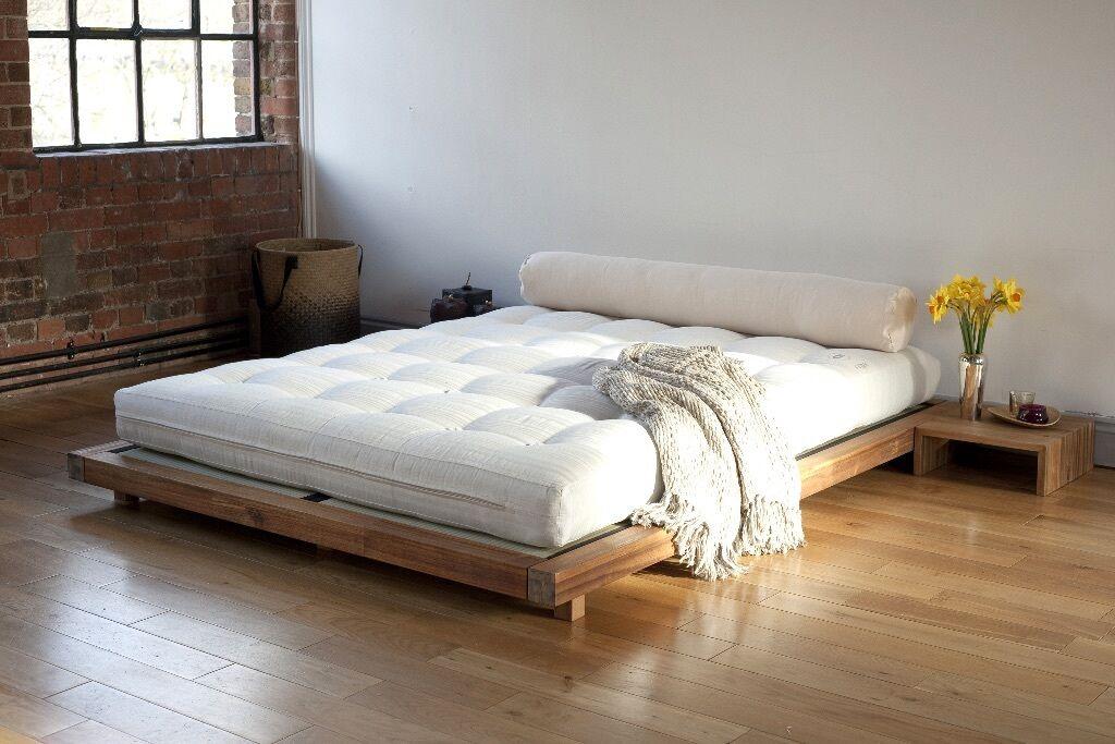 platform king size bed frame tatami mats and 2 bedside tables - Tatami Bed