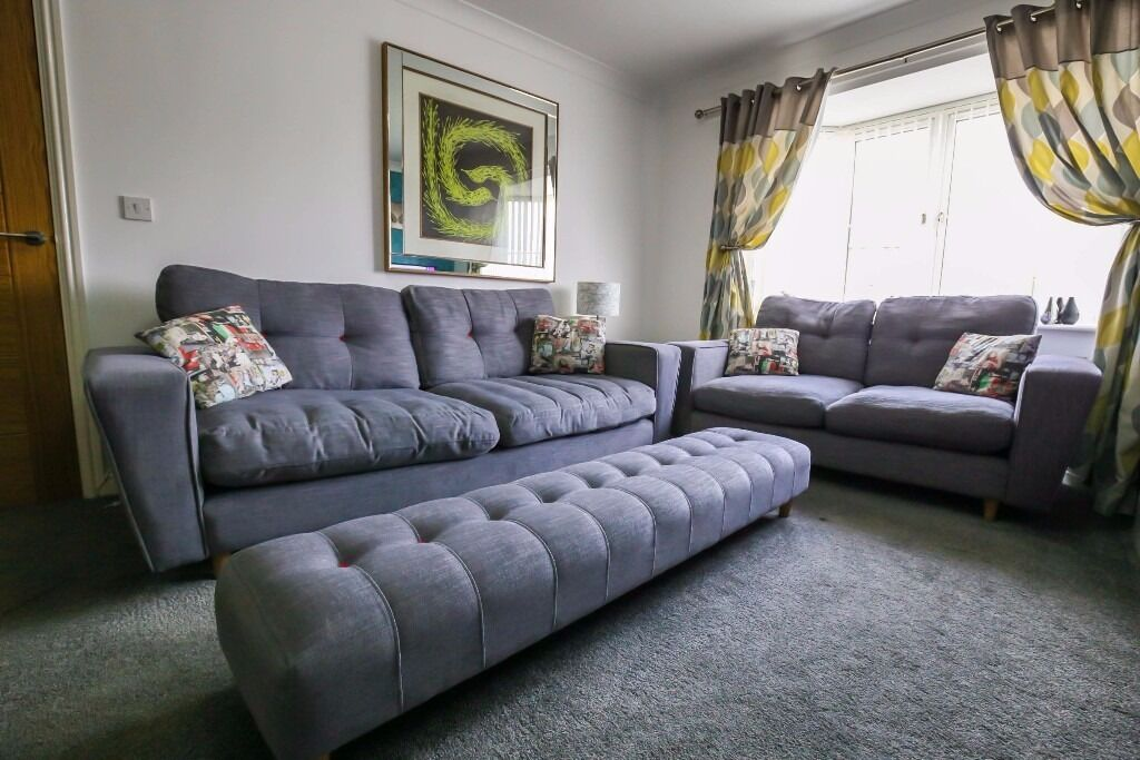 Contemporary DFS Beckett 4 And 2 Seater Sofa, Chair And Footstool In Grey  Arden SOLD