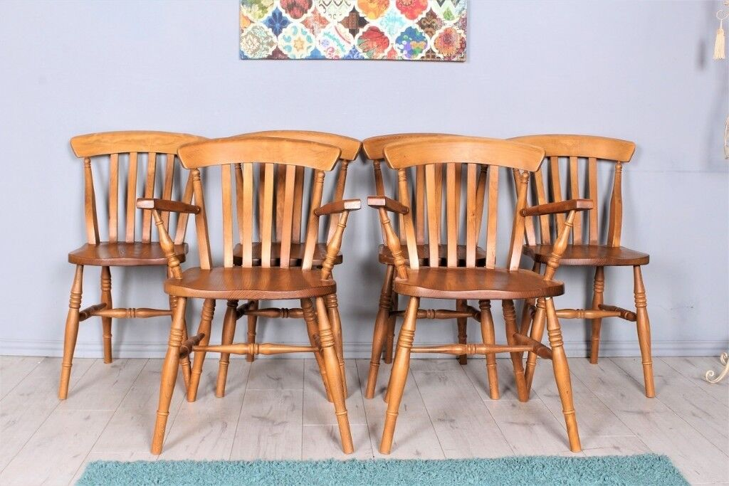 DELIVERY OPTIONS   SET OF 6 OAK FARMHOUSE CHAIRS INCLUDING 2 CARVERS WAXED