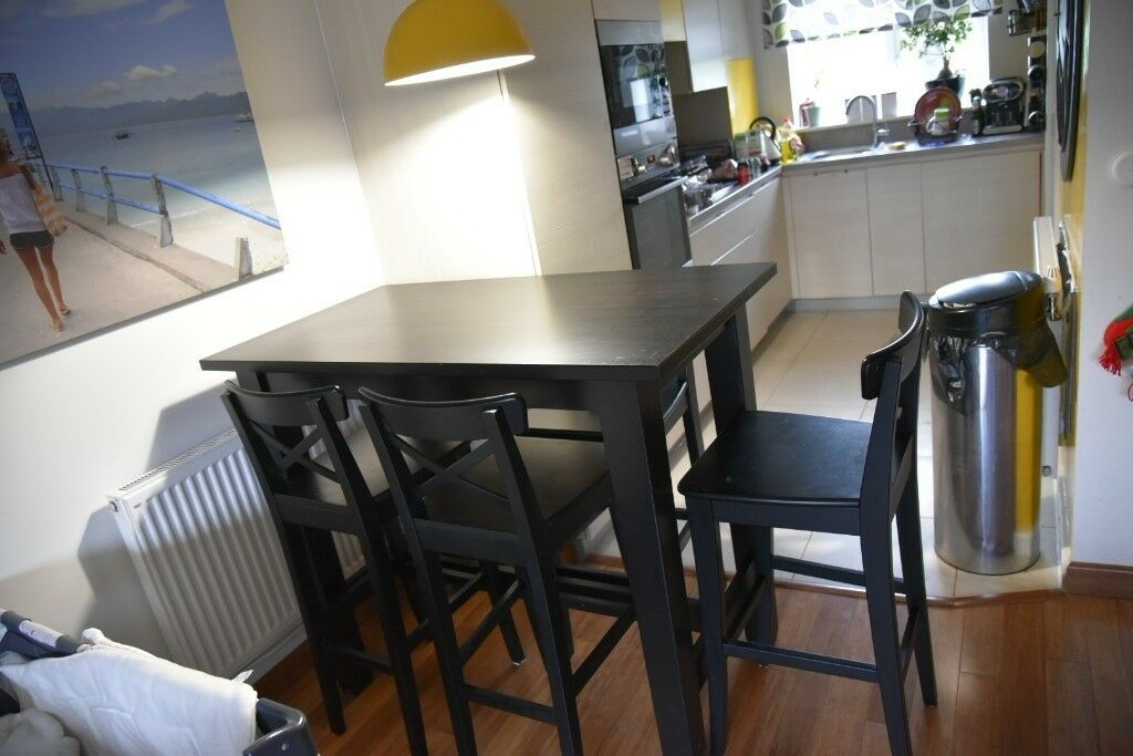 STORNÄS Ikea Bar Table Brown/black And 4 Bar Stools With Backrest