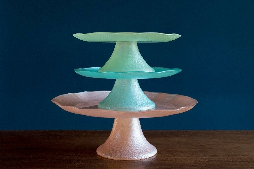 Cake plates / stands made of pastel coloured glass- great for wedding cake table or & Cake plates / stands made of pastel coloured glass- great for ...