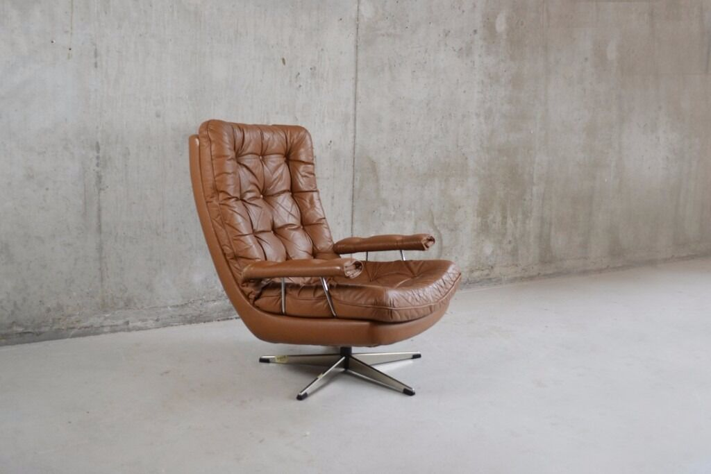 Danish Mid Century Modern 1970u0027s Light Brown Leather Button Quilted Swivel  Chair