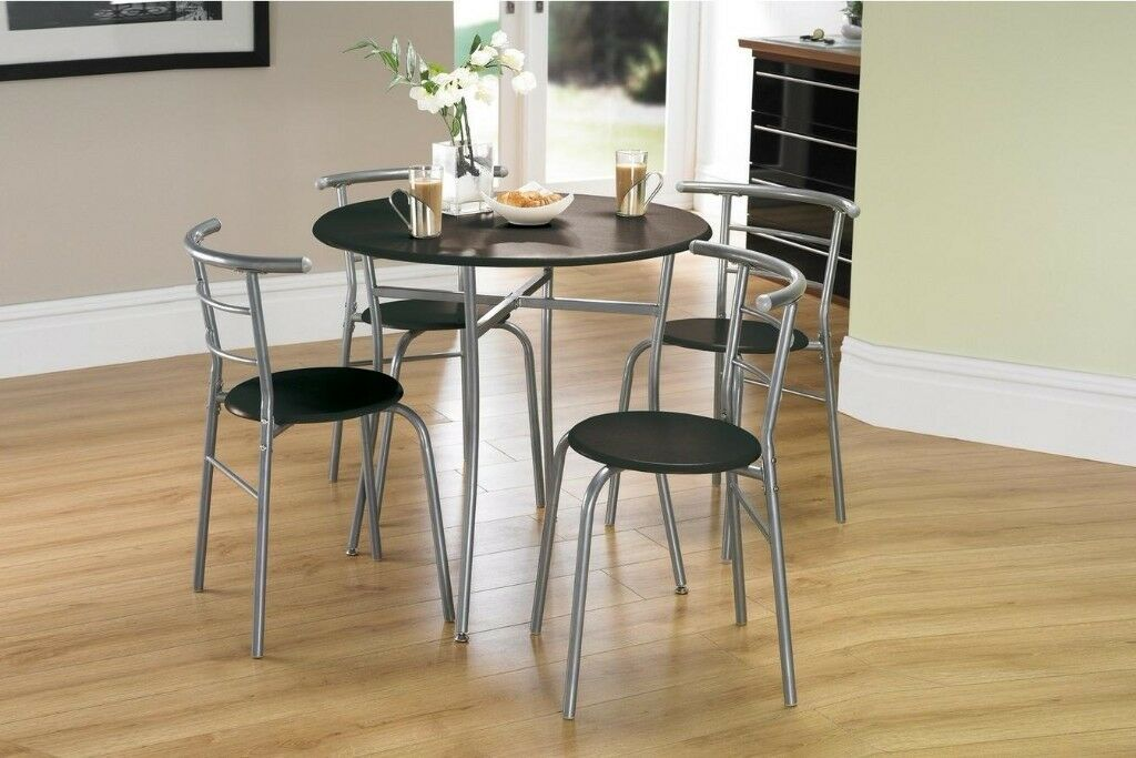 Brand New Space Saving 5 Piece Clear Glass Round Table 4 Chairs Dining Set    Black