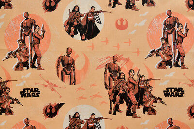 Star Wars Fabric - Rogue One Orange. 100% Cotton, Quilting & Crafts