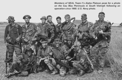 Vietnam War US Navy Seal Team 1 Alpha Platoon Cau Mau 1968 Glossy 8x10 Photo