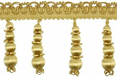 "HOULÈS Beaded Fringe 107 mm (4""1/5), Gold, Valmont 33425-9120 Luxury Trimming"