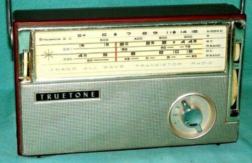Truetone DC 3448 3 Band All Wave 9 Transistor Radio For Parts or Repair