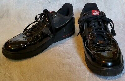 Nike Air Force 1 Mens All Black Patent Low AF1 Sneakers 2010 315122-021 Size (Af1 Sneakers)