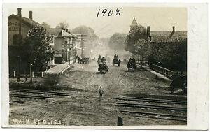 RPPC-NY-Bliss-1908-Horse-Drawn-Wagons-Street-Scene-Wyoming-County