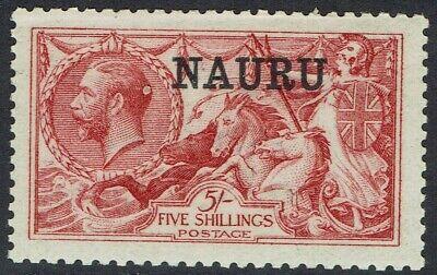 NAURU 1916 KGV SEAHORSES 5/- DE LA RUE PRINTING
