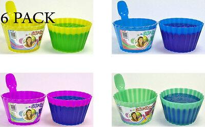 6 Ice Cream Dishes & Spoon Set Color Plastic Bowls Kids Party Magic Color Change](Color Plastic Cups)