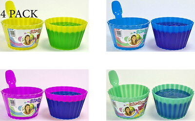 Kids Plastic Ice Cream Bowls Spoons Set of 4 Durable Cup Magic Color Change (Plastic Color Changing Cups)