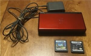 Nintendo DS Lite Red Black w 2 Games Charger Stylus