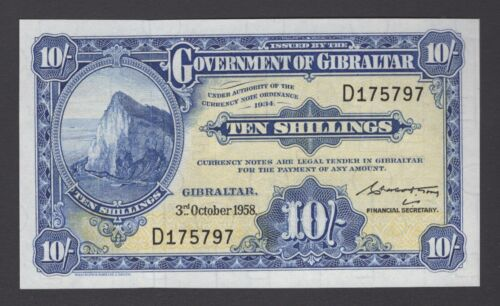 GIBRALTAR 10/- P15c 3rd Oct 1958 RARE Low number serial No. 797 Uncirculated
