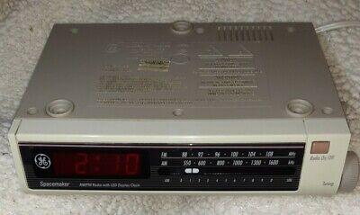 Vintage GE General Electric Spacemaker AM/FM Radio 7-4212B LED Clock Display