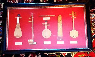 """Vintage Handmade 18"""" Chinese String Instruments in Shadowbox Frame"""