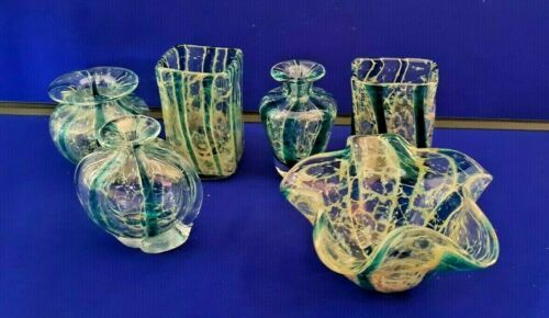 Six Mdina Tiger Stripe Vases - Very good condition signed