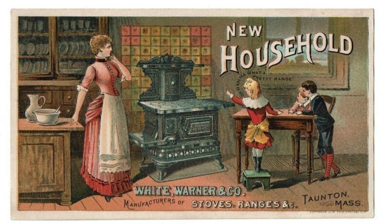 Trade card White, Warner & Co. - Happy Family Admires New Household Stove