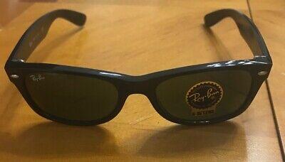 New Ray-Ban NEW Wayfarer Sunglasses Rb2132 622 Black,Green Tinted Lens (Rb2132 New Wayfarer 622 52)