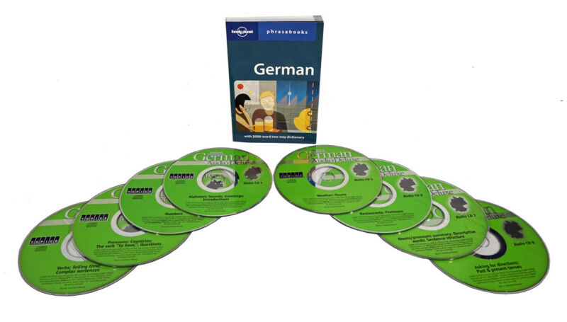 Learn to Speak German Language (8 Audio CD Set w/Phrasebook) listen in your car