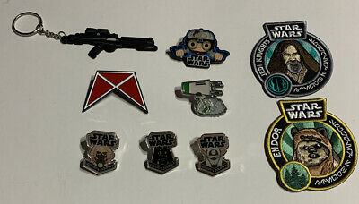 Funko Star Wars Mixed Lot (6) Pins- (2) Patches- (1) Keychain: EWOK/VADER/ENFYS+