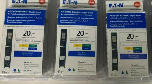 3 Eaton CHFP120A1CS Single Pole 20-Amp All In One Breakers SEALED FREE SHIPPING