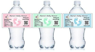 30 PERSONALIZED BABY SHOWER WATER BOTTLE LABELS PARTY FAVORS waterproof ink - Bottle Labels