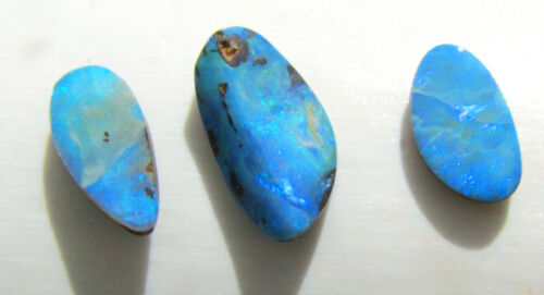3 Australian opal doublets with strong blue fire, 5 carats total, 15 x 8 x 3 mm